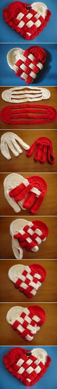 crochet Danish heart baskets