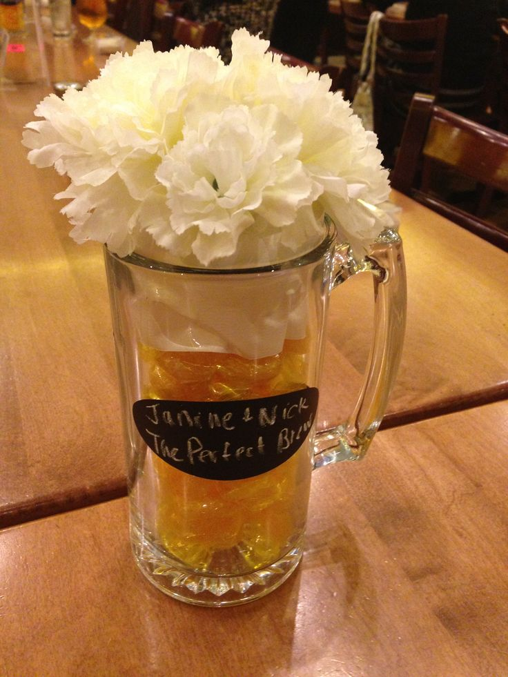 Brew pub bridal shower centerpiece! Beer mugs with ...