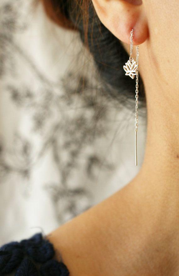 Lotus earrings pull through earrings sterling by soradesigns