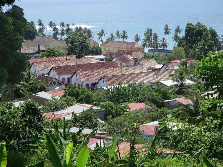 Workers housing at Roça Agua Izé on the east coast of Sao Tome Island, São Tomé and Príncipe.