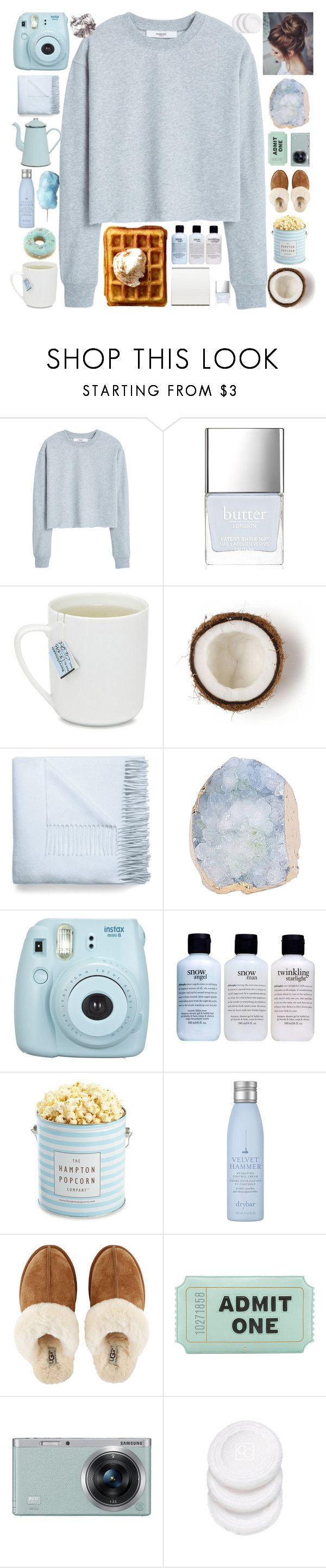 """Sky blue"" by roguedesigner21 ❤ liked on Polyvore featuring MANGO, Butter London, Acne Studios, Fujifilm, philosophy, The Hampton Popcorn Company, Drybar, UGG, Kate Spade and Samsung"