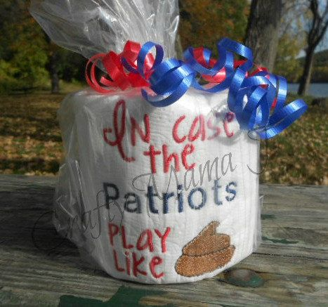 """NFL Patriots Team Embroidered Toilet Paper """"In Case The Patriots Play Like (Crap Image)"""" by CraftyMamaJ on Etsy"""