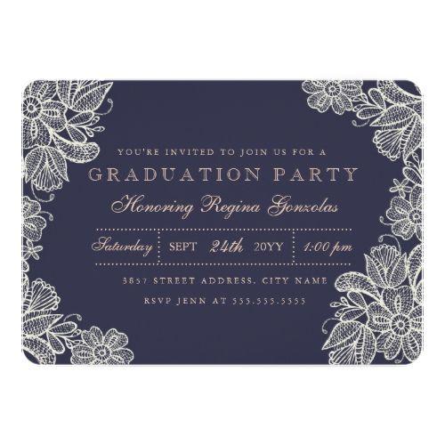 142 best graduation party invitations images on pinterest grad vintage lace graduation card stopboris Image collections