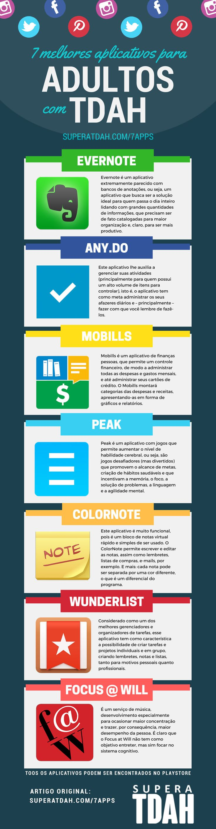 Infográfico: 7 melhores aplicativos android para adultos com TDAH