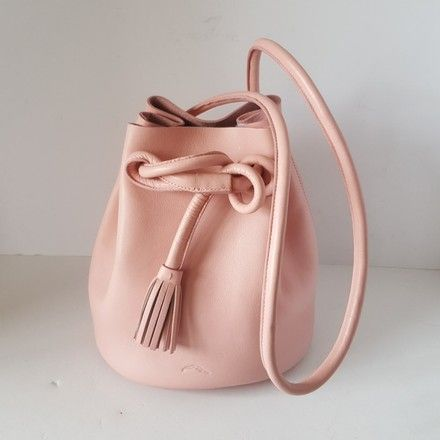 6ddb9c423cff The Dana Bucket Pink Leather Shoulder Bag