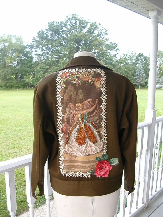 Embellished Army Surplus Jacket-size L by FrayedandTwisted on Etsy