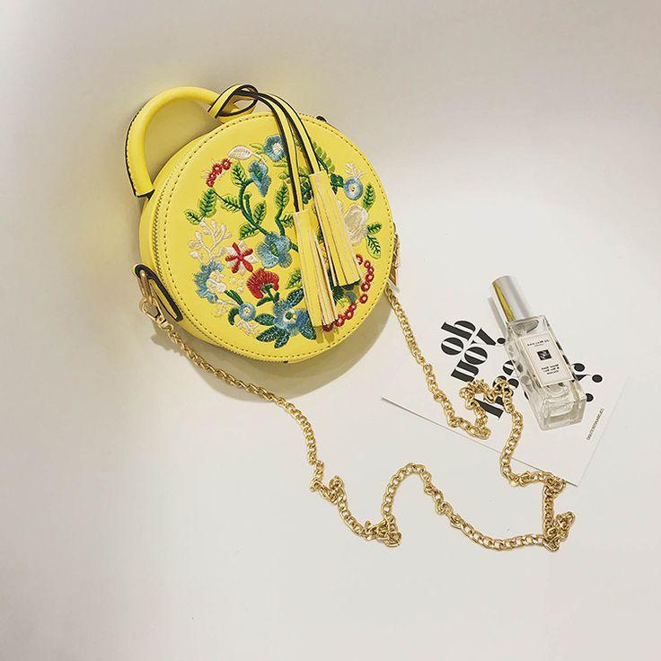 National Style Evening Bag Embroidery Flower Female PU Leather Bag Round Cake Small Shoulder Bag Female Totes Bag Handbag
