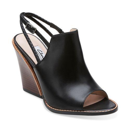 Sarina Billy Black Leather - Womens Medium Width Shoes - Clarks