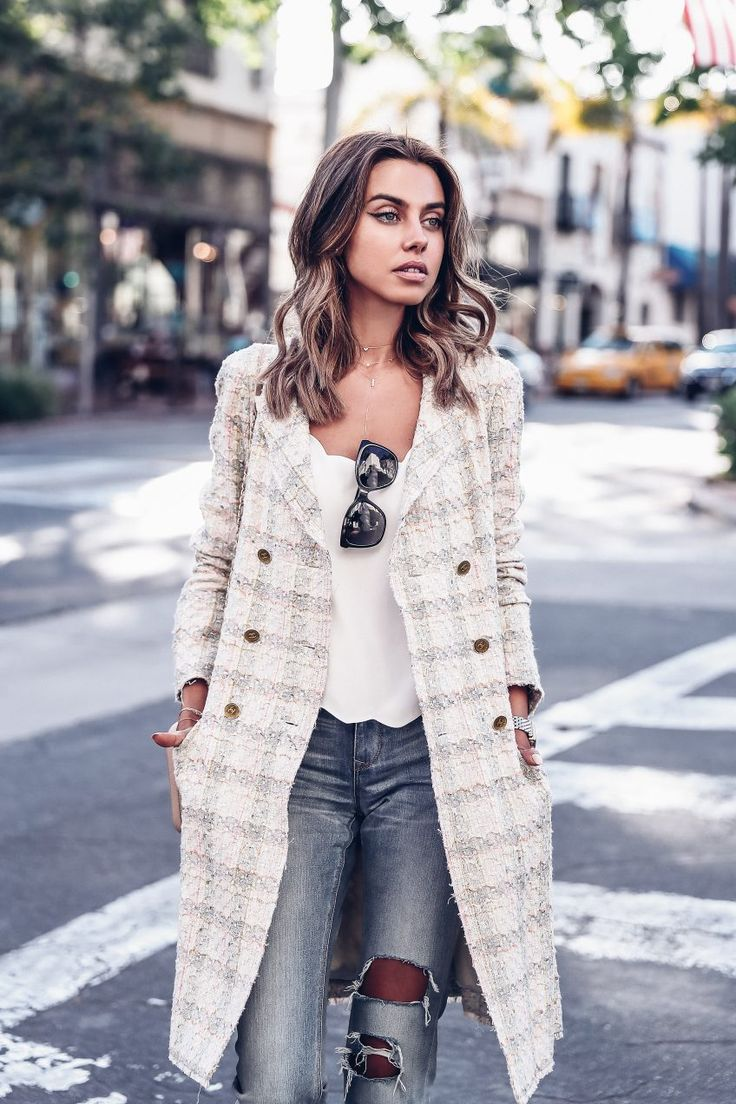 Yellow vintage Chanel coat & jeans outfit