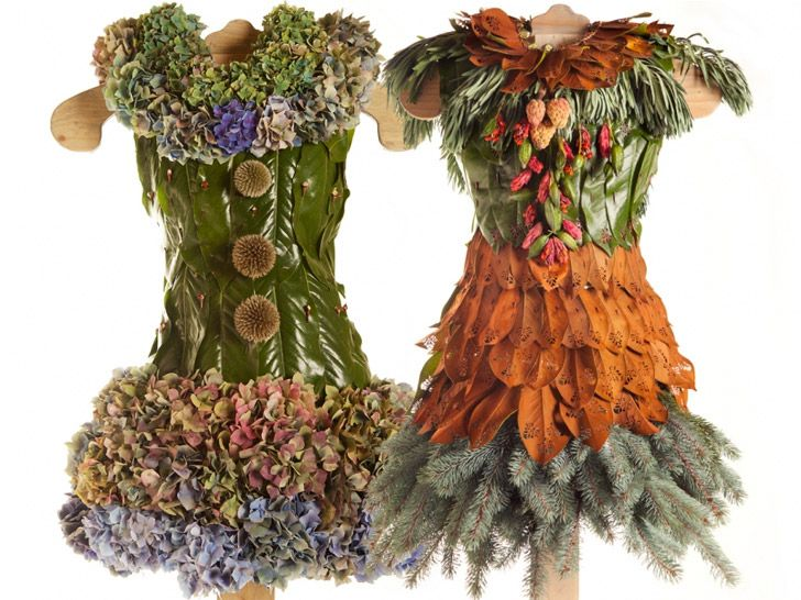 """littlegreendresses.wordpress.com  Left: """"Barbara,"""" comprising magnolia leaves, hydrangea, globe thistle, and thorns. Right: """"Tanya,"""" derived from magnolia leaves, blue spruce branches, euphorbia leaves, magnolia seed pods, and thorns."""