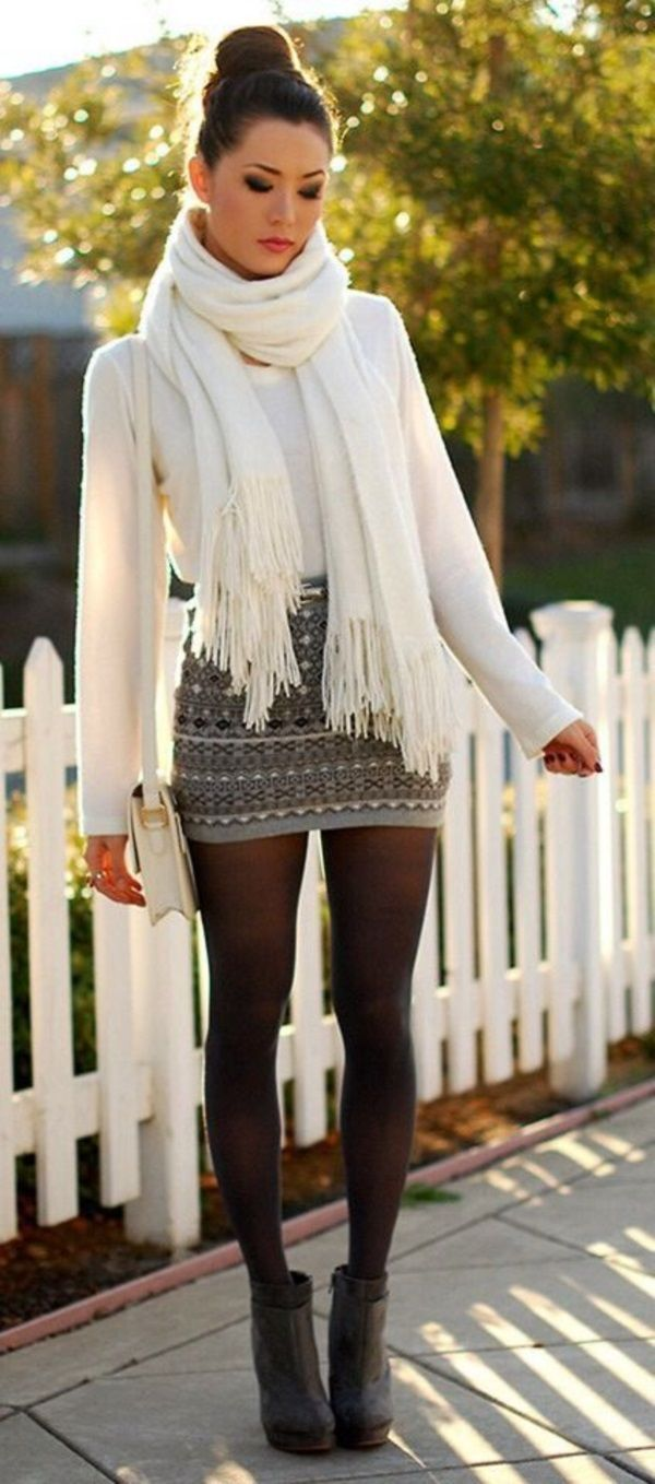 Sexy Winter Skirt Outfit Ideas