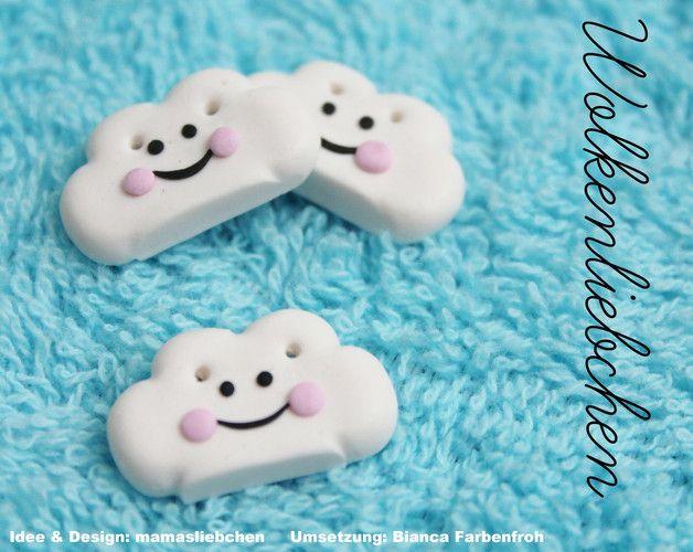 """3 """"Wolkenliebchen"""" Zierknöpfe nach dem zuckersüssen Design von Mamasliebchen zum pimpen eurer genähten Werke ♥ ♥ ♥  Die Knöpfe sind aus Polymer Clay in liebevoller Handarbeit hergestellt. Jeder..."""