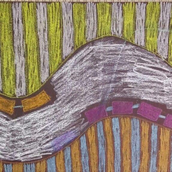 Roller coaster. Dry pastels