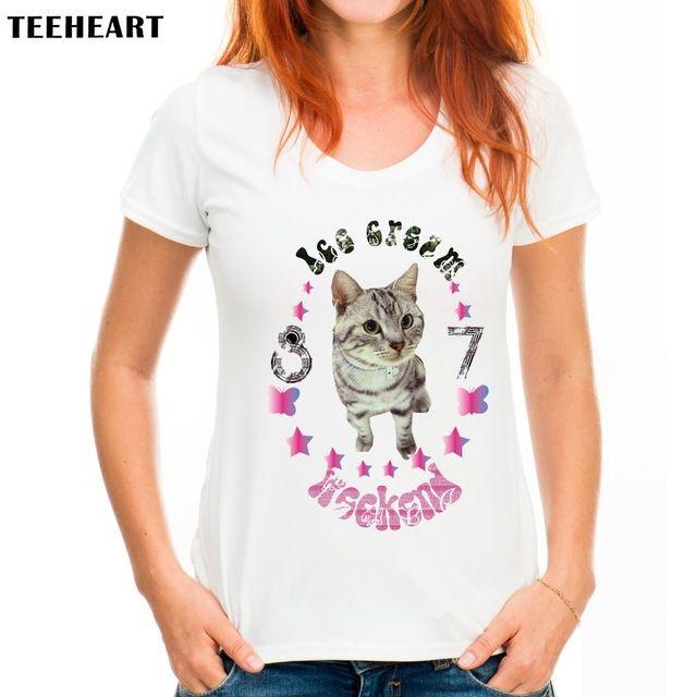 2017 TEEHEART Women's Cute Cat Print T-Shirt  Women Summer Modal Cute Fashion Hipster Tees px801