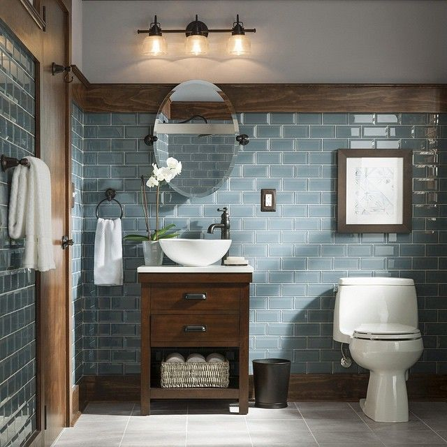 "2,858 Likes, 183 Comments - Lowe's Home Improvement (@loweshomeimprovement) on Instagram: ""Make an impression in your guest bathroom with warm wood tones and cool blues. Click the link in…"""