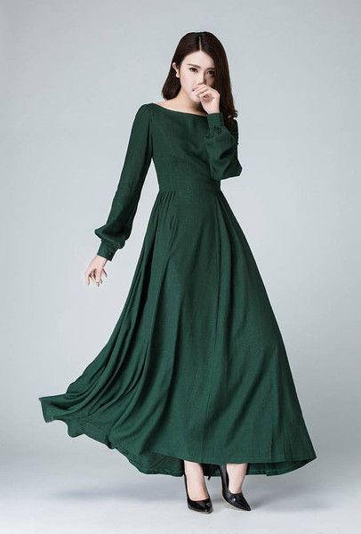 Maxi abiti - Green dress women maxi linen prom dress 1454 - un prodotto unico di yanhuayue su DaWanda
