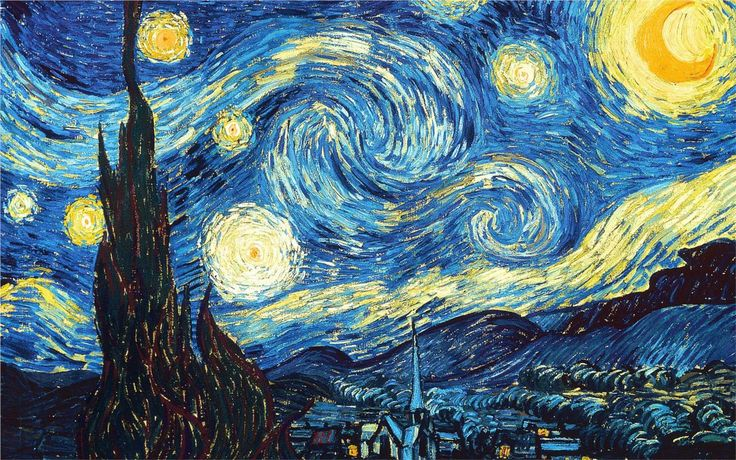 The Starry Night, 1889  Vincent van Gogh One of my favorites <3