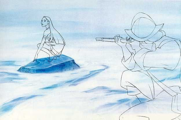 This is an animation cel with a simulation of the background and cleaned-up animation sketches of Pocahontas and John Smith.
