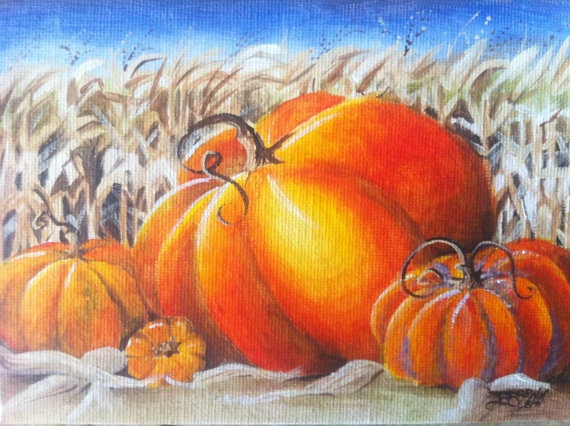 Pumpkins in the Cornfield canvas painting by BBArtDesigns on Etsy,