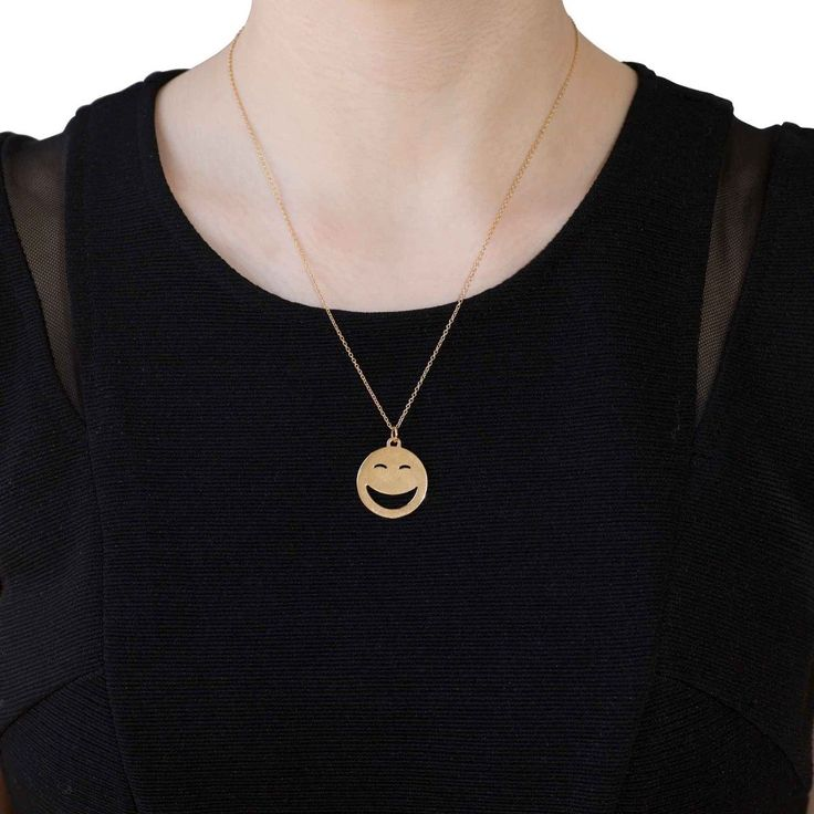 Alison Lou Rolling on the Floor Laughing Pendant Necklace 14k Yellow Gold