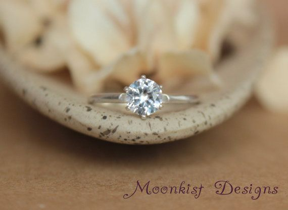 Vintage Style Tiffany White Sapphire Solitaire in Sterling Silver - Engagement Ring, Promise Ring, or Birthstone Ring