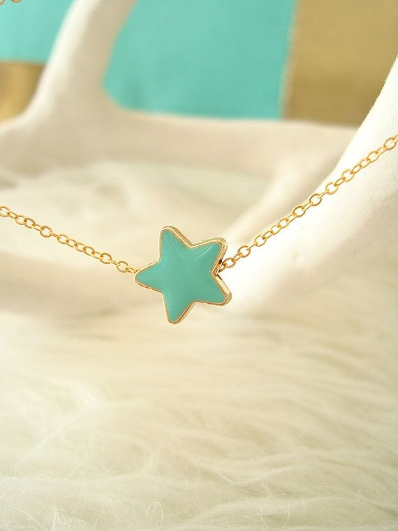 Dainty Star Necklace by EfZinCreations #jewelry #star #necklace #wedding #blue #gold