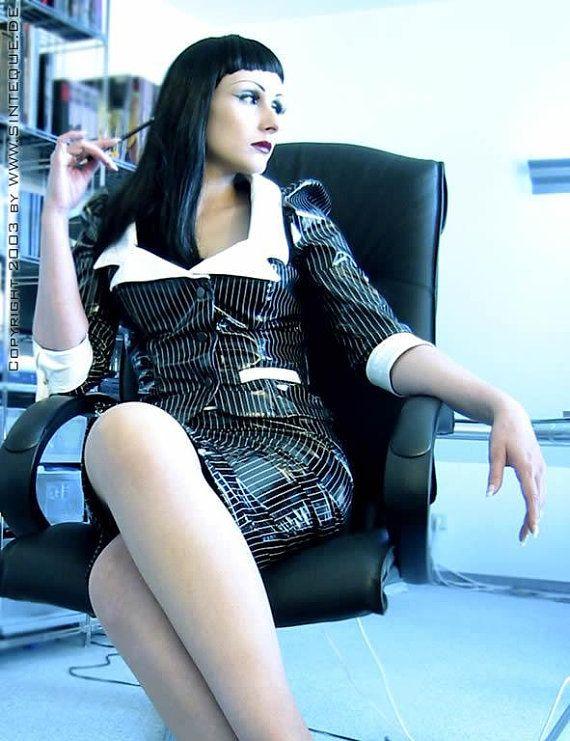 Pvc Vinyl Leather Secretary Business Suit Jacket Skirt