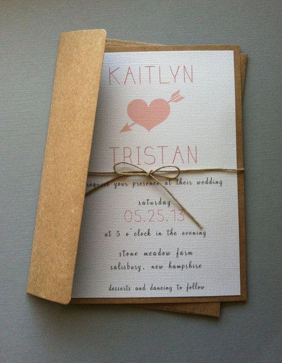 Rustic Heart Wedding Invitations by LemonInvitations on Etsy