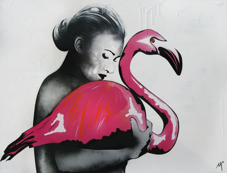 "Original Artwork by Matt Stewart. Size: 90cm (35.4"") x 120cm (47.2""). Acrylic / Aerosol #art #artwork #fashion #home #interiordesign #flamingo #pink  www.mattstewart.tv"