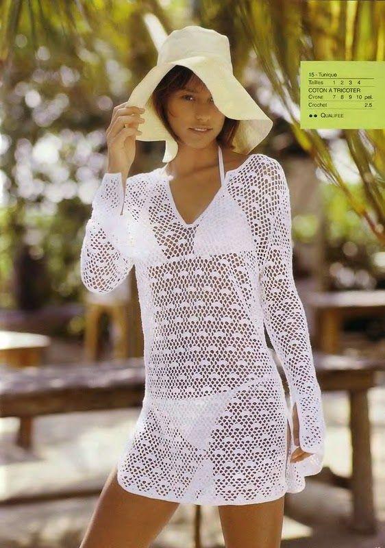 crochelinhasagulhas: Saída de praia branca em crochê