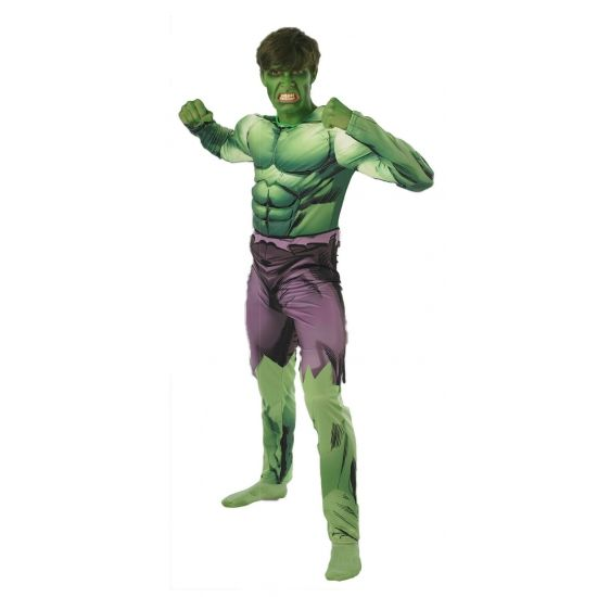 De Hulk kostuum voor volwassenen. Dit Hulk kostuum voor volwassenen bestaat uit een jumpsuit met spieren shirt. Carnavalskleding 2015 #carnaval