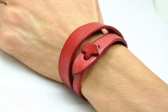 Real Soft Red Leather Women's Leather Jewelry by braceletcool