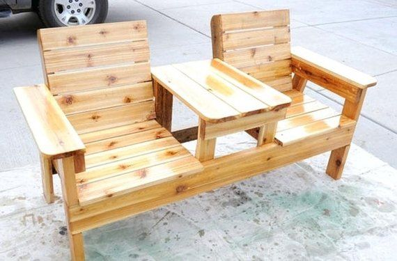 Double Seat Bench With Table Plans | Products in 2019 | Diy ...