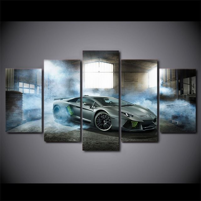 Luxury Sports Car Lamborghini Canvas Wall Decor Modular Frame Pictures 5 Panel Car Home Decor Canvas Painting Cars Canvas Wall Art Painting Wall Art Prints