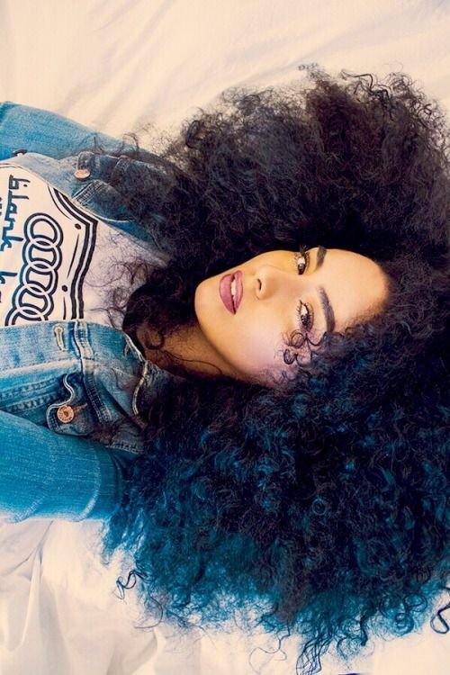 afro blue black natural curly kinky hair