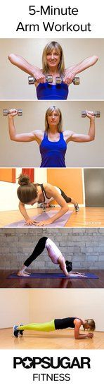 Five-Minute Arm Workout: Tone up your arms with this five-minute, five-move plan. All you need is a yoga mat and a pair of light dumbbells.