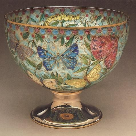 """Butterfly bowl"" Gold backless enamel bowl with silver and gold foot. 43 feet of gold wire used in the making of this bowl. Private Collection: England"