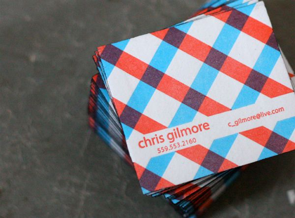 plaid patterned, square business card