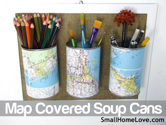 Maps upcycled onto Soup Cans as holders.