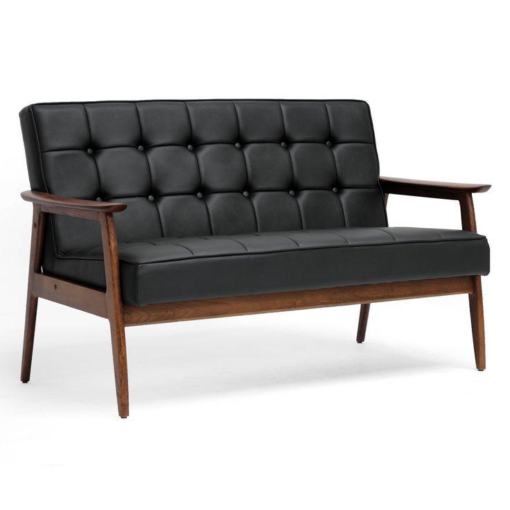 Amazon.com: Baxton Studio Stratham Mid Century Modern Sofa, Black: Home