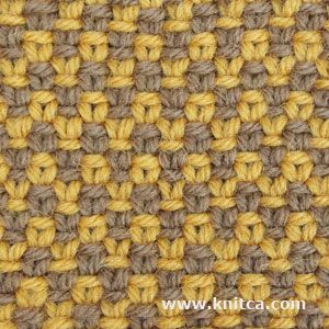 Slip Stitch 7. Zigzag print is so hot this season. Here's a nice easy slip stitch pattern that creates a 2 color zigzag for a stylish jacket or skirt. It even looks great on the wrong side! Beware: knitted fabric created with this stitch pattern is not elastic.
