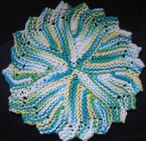 free round knit dishcloth pattern written out