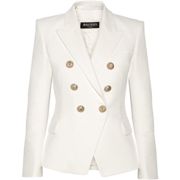 Balmain Double-breasted basketweave cotton blazer found on Polyvore featuring outerwear, jackets, blazers, white, white jacket, tailored blazer, white double breasted blazer, cotton blazer and balmain blazer