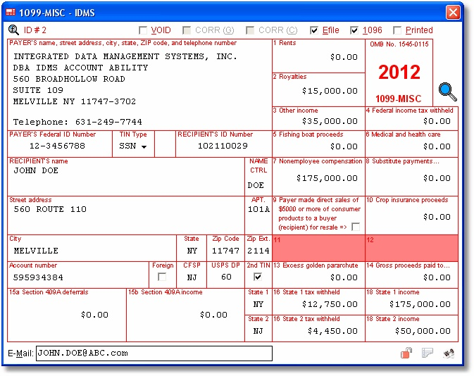 1099-MISC User Interface - Miscellaneous Income - Data is entered onto windows that resemble the actual forms. Imports recipient information from spreadsheets or delimited text files. Files Copy A electronically via IRS FIRE or on preprinted laser forms. Prepares recipient and payer copies on ordinary copy paper or PDF for eDelivery.