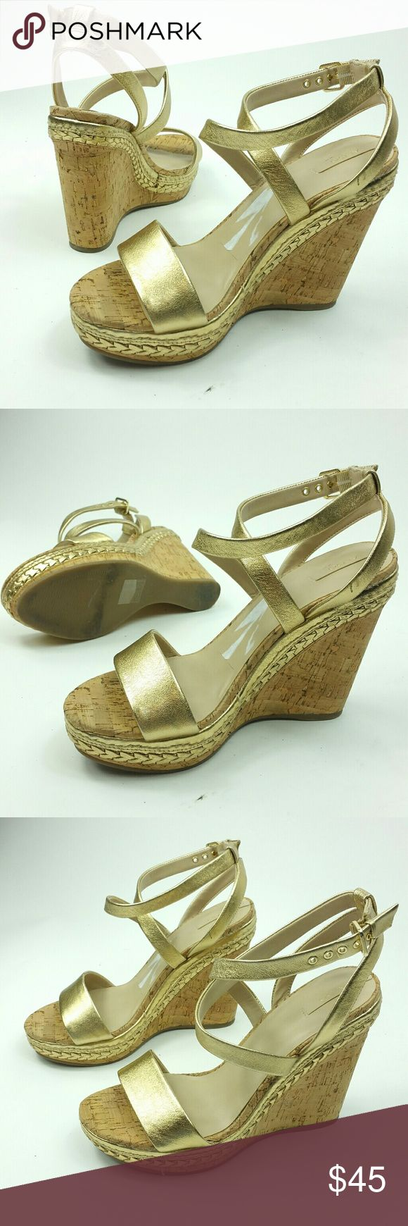 Aldo size 11 metalic gold wedge heels ankle strap Aldo size 11 metalic gold wedge heels ankle strap  Might mistake them as new  Flaws none other than the paper sticker on the sole needs to be fully removed  Heel height 5in Aldo Shoes Wedges