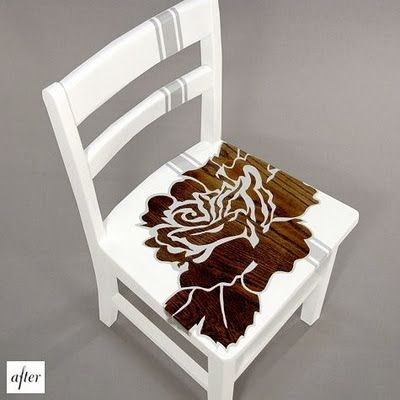 Cool wooden chair redo: Wooden Chairs, Chairs Makeovers, Wood Chairs, Kitchens Chairs, Wood Grains, Idea, Old Chairs, Paintings Chairs, Chairs Redo