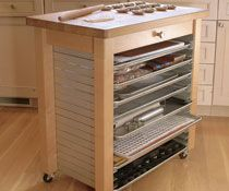 Great rolling island for cooking racks, rolling out dough, etc.  Click link for an awesome baker's kitchen