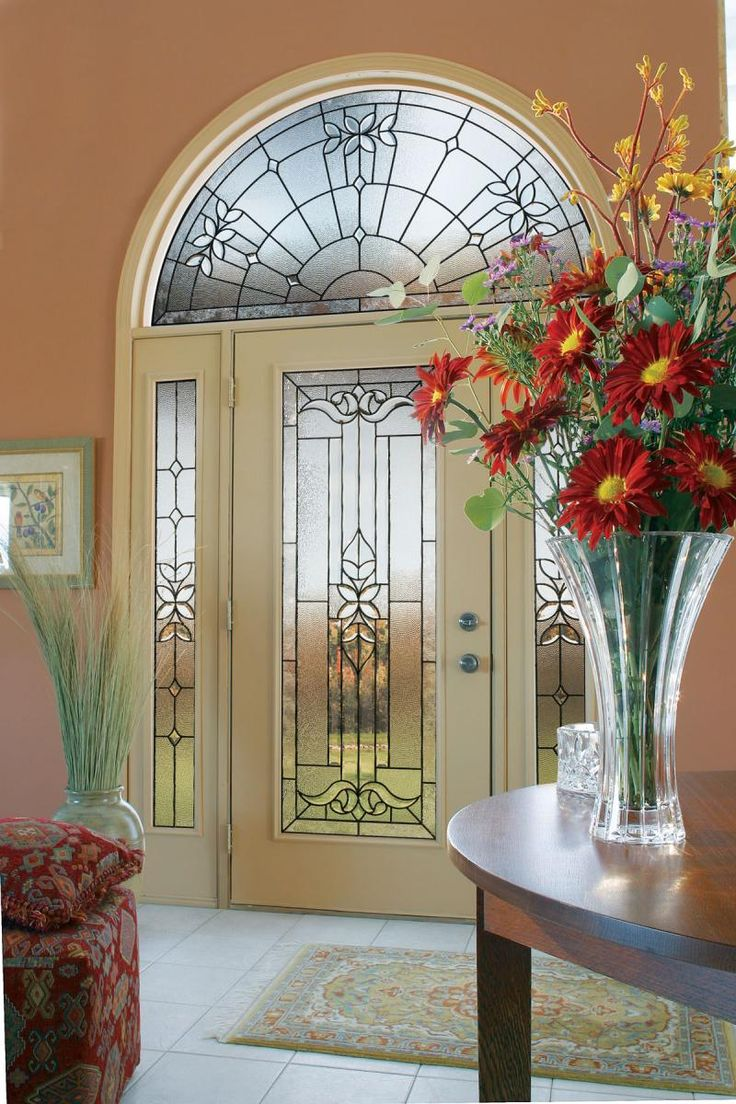 Round top front door window inserts - Jeld Wen Smooth Pro Fiberglass Series Front Entry Door Full View Style Full View Style Sidelites Half Round Transom Cadence Glass Design Smooth Surface