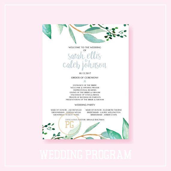 Printable Wedding Program Wedding Program by ShopPaperGarden