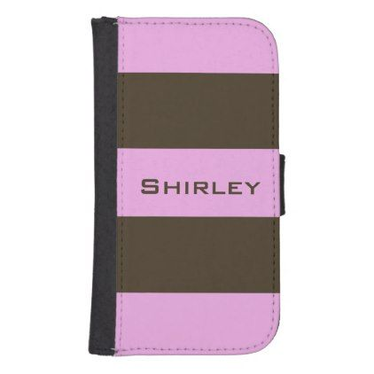 #Pink and Chocolate Brown Wide Stripes by STaylor Galaxy S4 Wallet Case - diy cyo customize personalize design